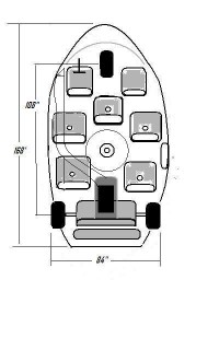 Three wheeled minibus top view